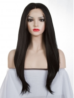 Off Black Waist-length Straight Synthetic Lace Wig-SNY019