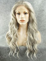 Gray Waist length Wavy Synthetic Lace Front Wig-SNY053