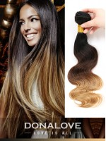 Two colors ombre indian remy clip in hair extensions OD007