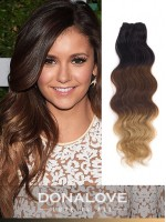 Two colors ombre indian remy clip in hair extensions OD009