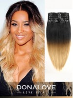 Two colors ombre indian remy clip in hair extensions OD010