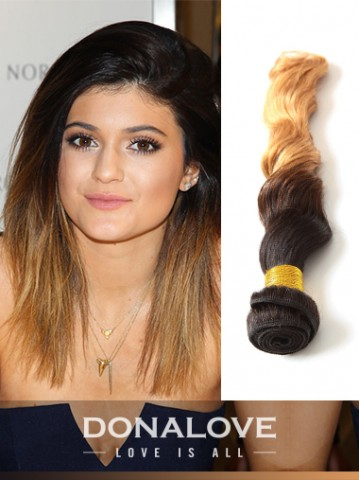 Two colors ombre indian remy clip in hair extensions OD012