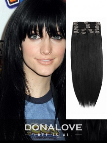 Jet Black indian remy clip in hair extensions SD002
