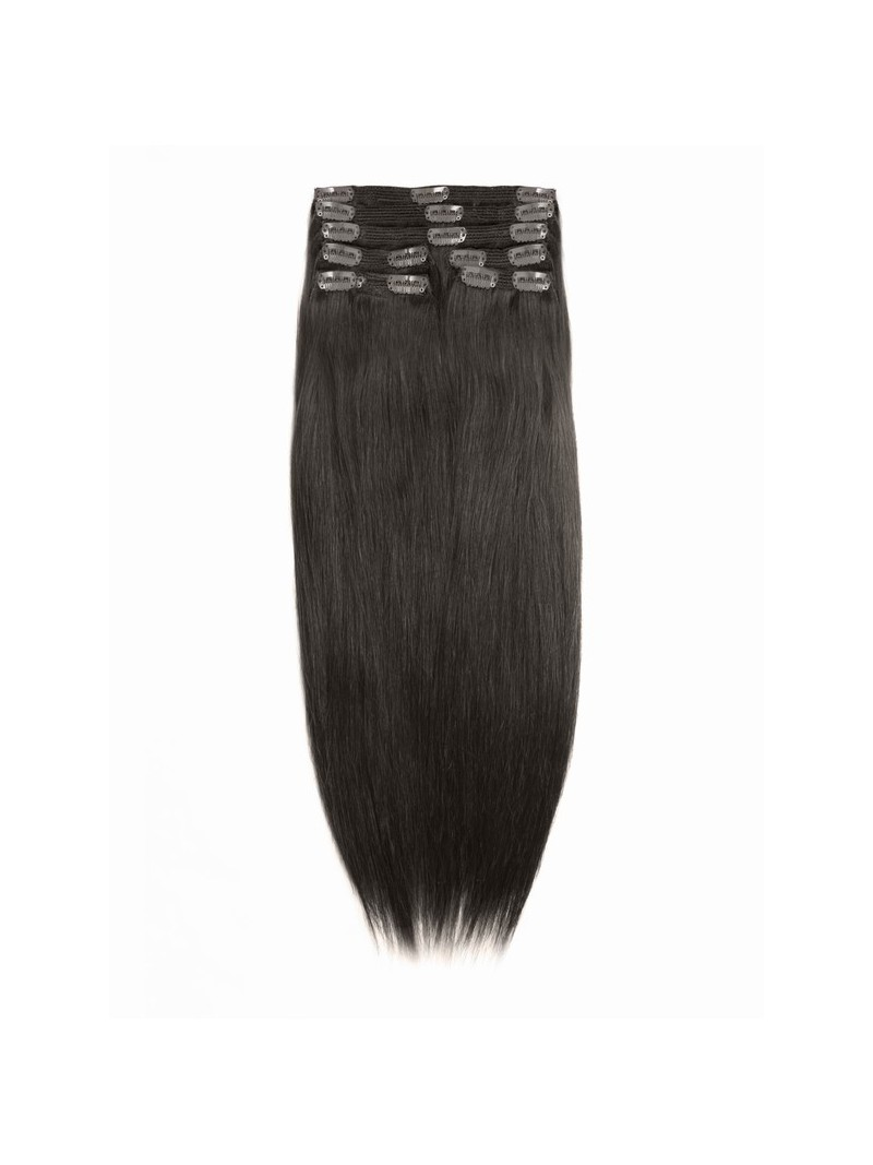 darkest brown indian remy clip in hair extensions sd004. Black Bedroom Furniture Sets. Home Design Ideas