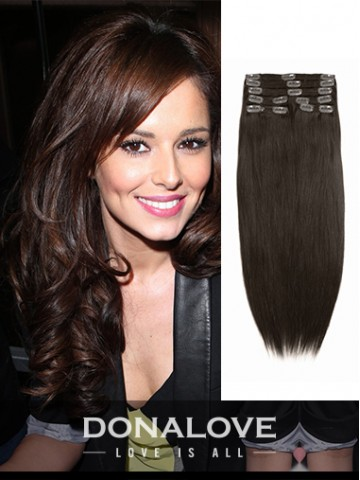 Medium Reddish Brown indian remy clip in hair extensions SD006
