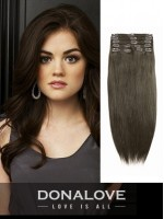 Chestnut Brown indian remy clip in hair extensions SD008