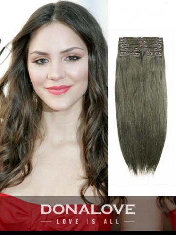 medium ash brown indian remy clip in hair extensions sd010