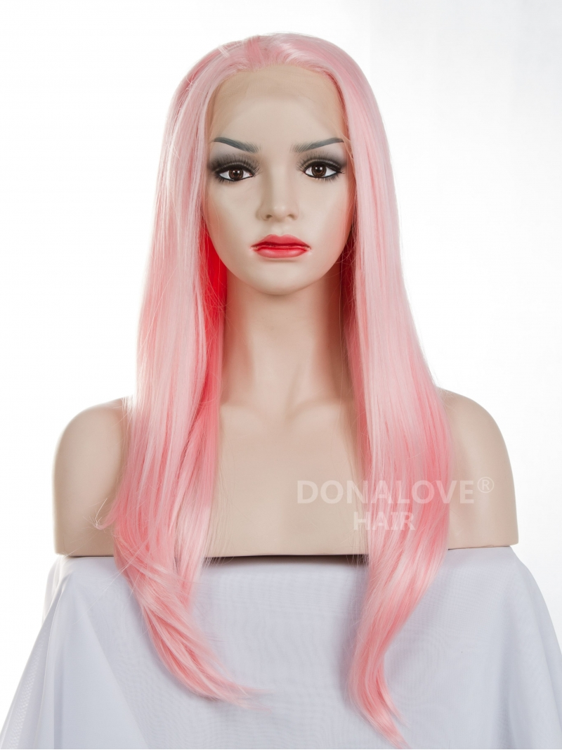 Pink Waist Length Straight Synthetic Lace Wig Sny011