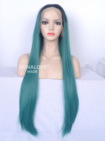 Black to Green Waist Length Straight Synthetic Lace Front Wig-SNY013