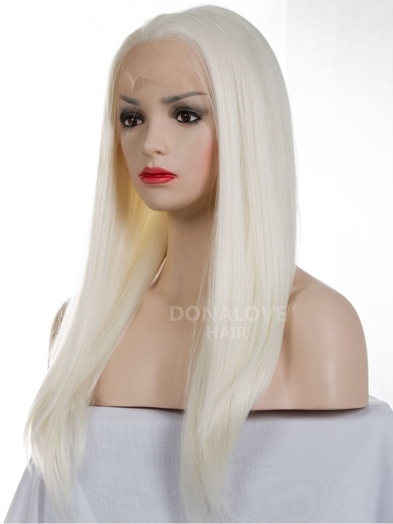 White Waist Length Straight Synthetic Lace Wig Sny014