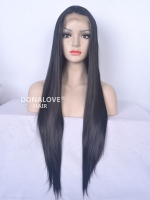 "24"" #1-Jet Black Waist-length Straight Synthetic Lace Wig-SNY015"