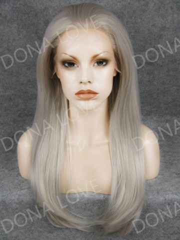 Silver Waist-length Straight Synthetic Lace Wig-SNY017