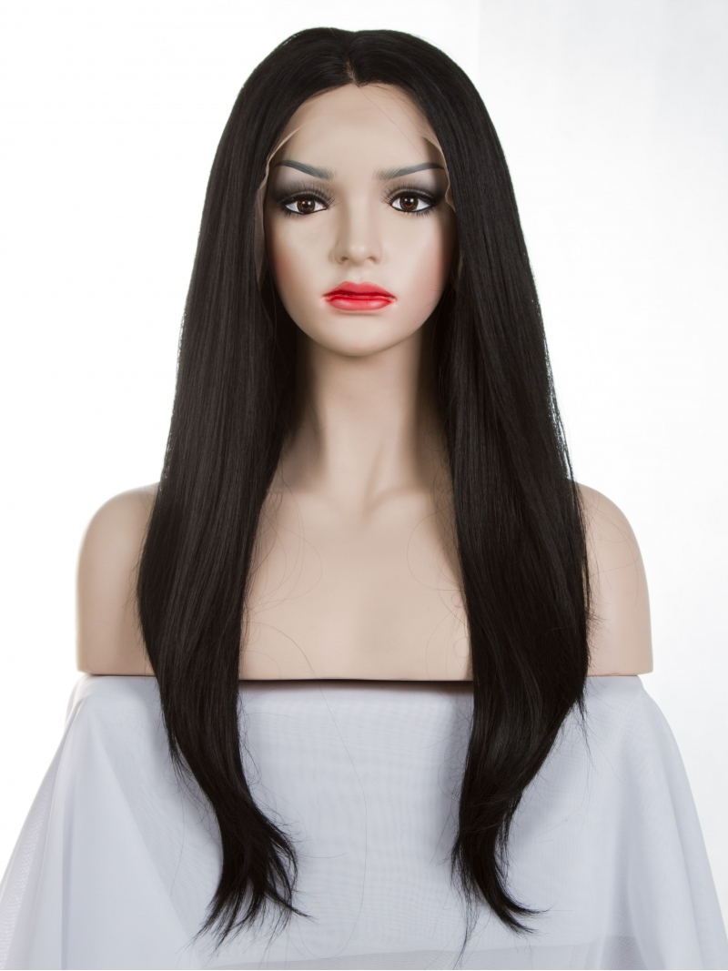 Off Black Waist Length Straight Synthetic Lace Wig Sny019