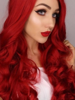 Red Waist-length Wavy Synthetic Lace Wig-SNY020