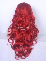 "24"" red Waist-length Wavy Synthetic Lace Wig-SNY020"