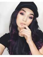 Black ombre purple Waist-length Straight Synthetic Lace Wig-SNY021