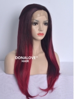 RED OMBRE WAIST-LENGTH STRAIGHT SYNTHETIC LACE WIG