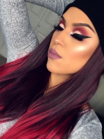 Red Ombre Waist-length Straight Synthetic Lace Wig-SNY022