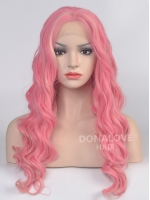 Pink mid back length Wavy Synthetic Lace Wig-SNY023