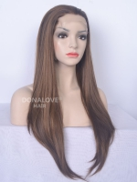 "24"" #4-Medium reddish browm Waist-length Straight Synthetic Lace Wig-SNY025"