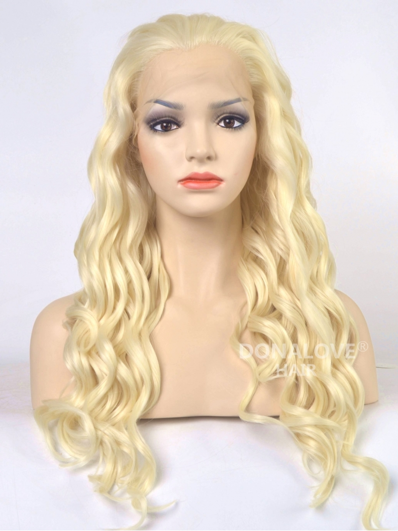 Light Blonde Shade Waist Length Wavy Synthetic Lace Front