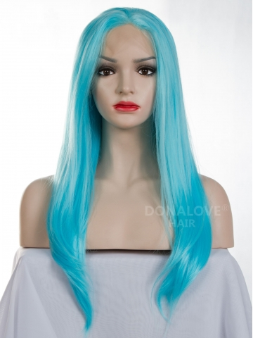 Blue Waist-length Straight Synthetic Lace Wig-SNY003