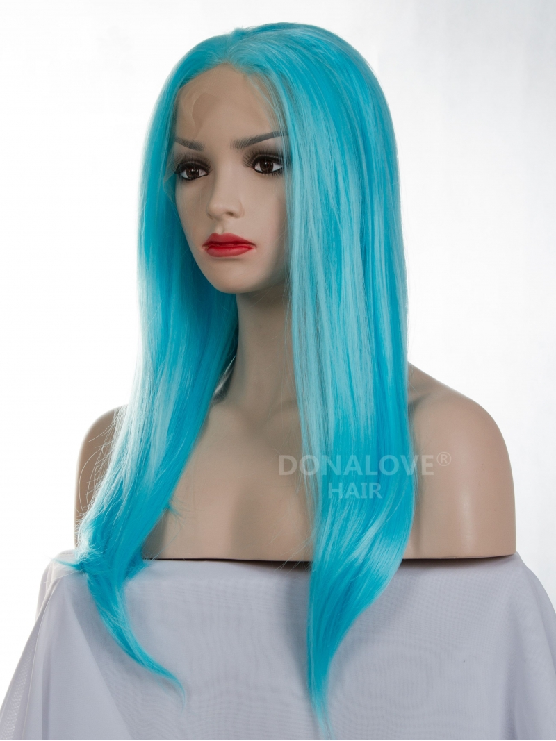 Blue Waist Length Straight Synthetic Lace Wig Sny003