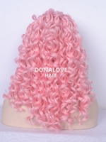 "20"" pink bra strap length Curly Synthetic Lace Wig-SNY005"