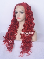"24"" red waist length curly Synthetic Lace Wig-SNY007"