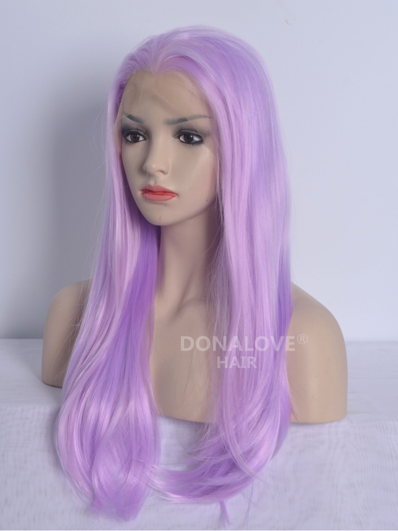 Purple Waist Length Straight Synthetic Lace Wig Sny027