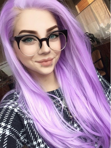 Purple Waist-length Straight Synthetic Lace Wig-SNY027