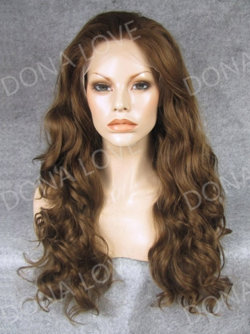 Brown Waist-length Wavy Synthetic Lace Front Wig-SNY028