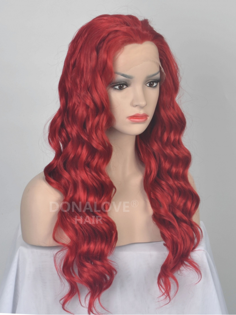 Red Waist Length Wavy Synthetic Lace Front Wig Sny032