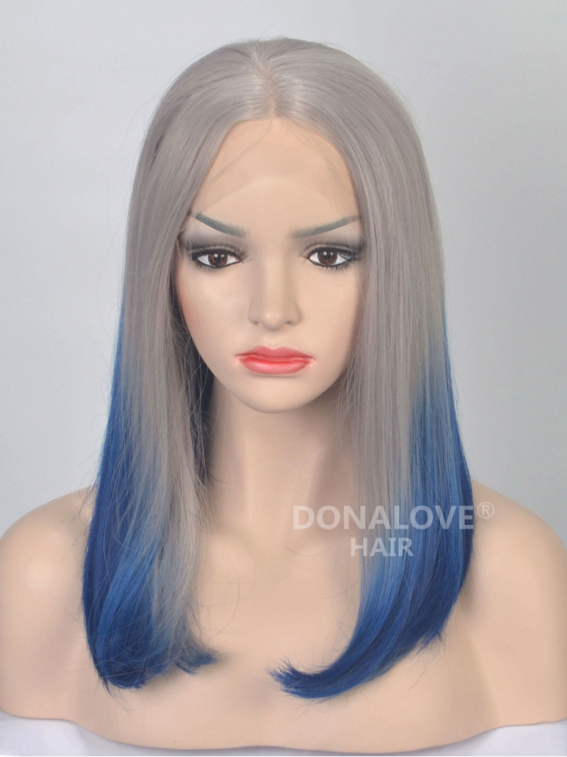 Straight Ombre Color Bob Synthetic Lace Front Wig Sny035