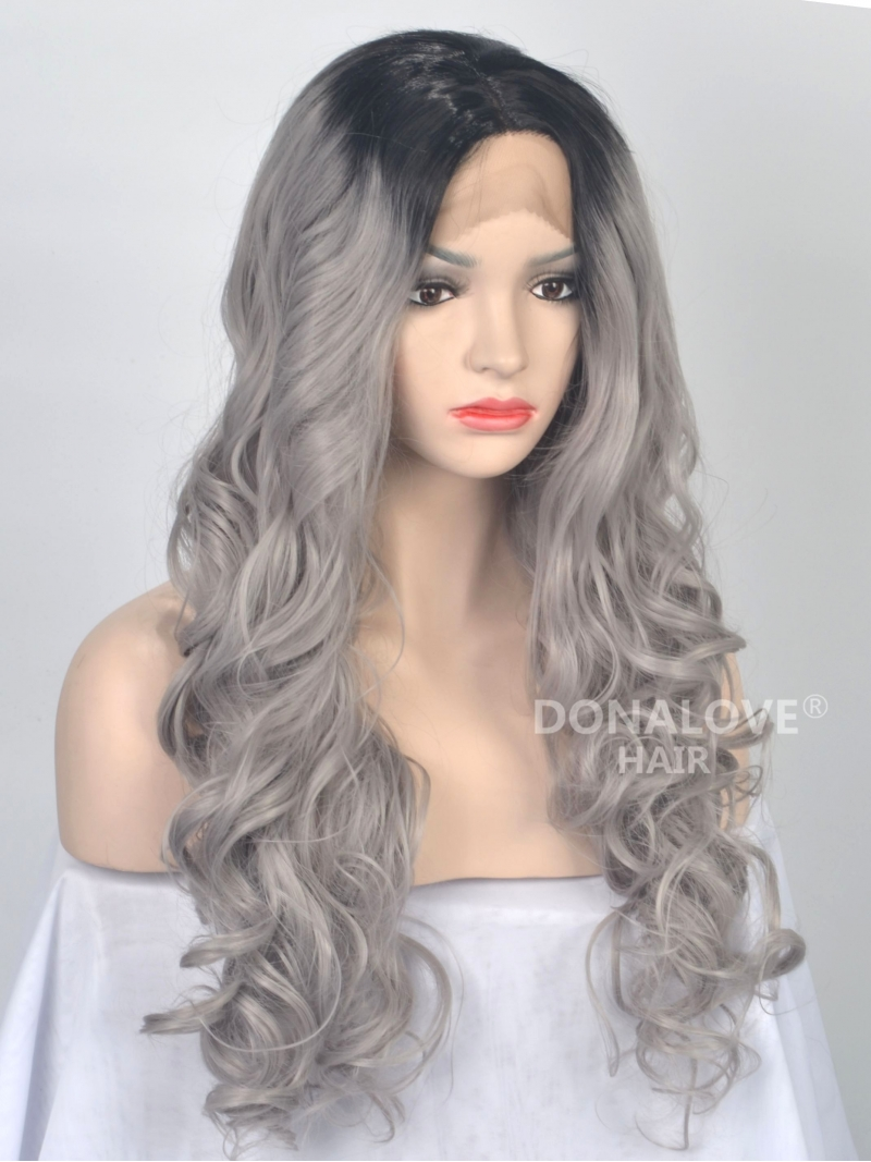 black to grey ombre wavy synthetic lace front wig sny036 synthetic wigs donalovehair. Black Bedroom Furniture Sets. Home Design Ideas