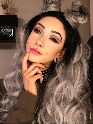 Black to Grey Ombre Wavy Synthetic Lace Front Wig-SNY036