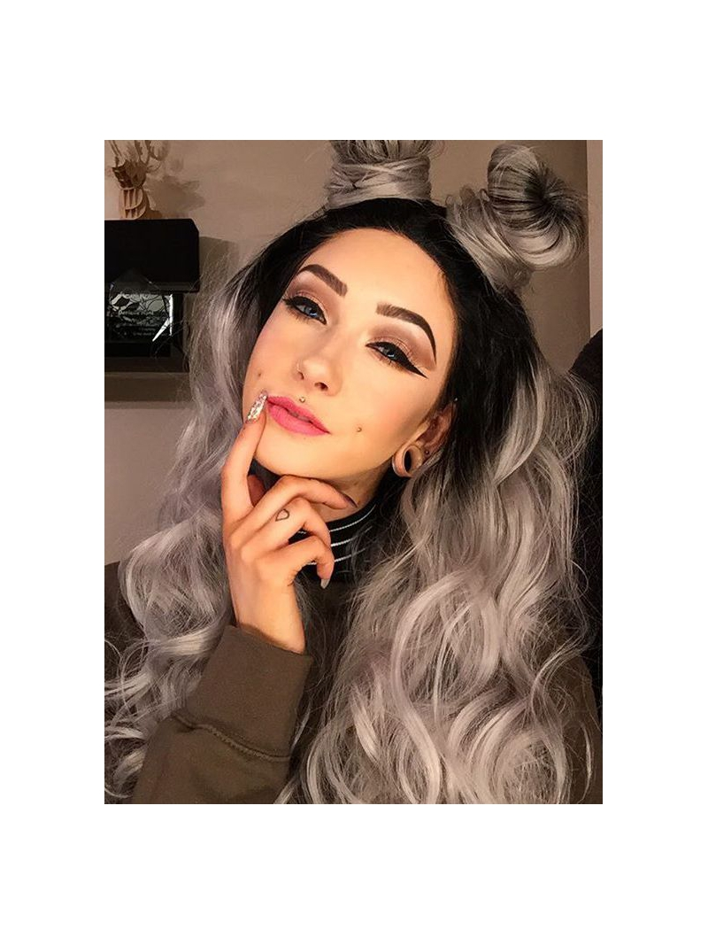 thick curly haircuts black to grey ombre wavy synthetic lace front wig sny036 1697