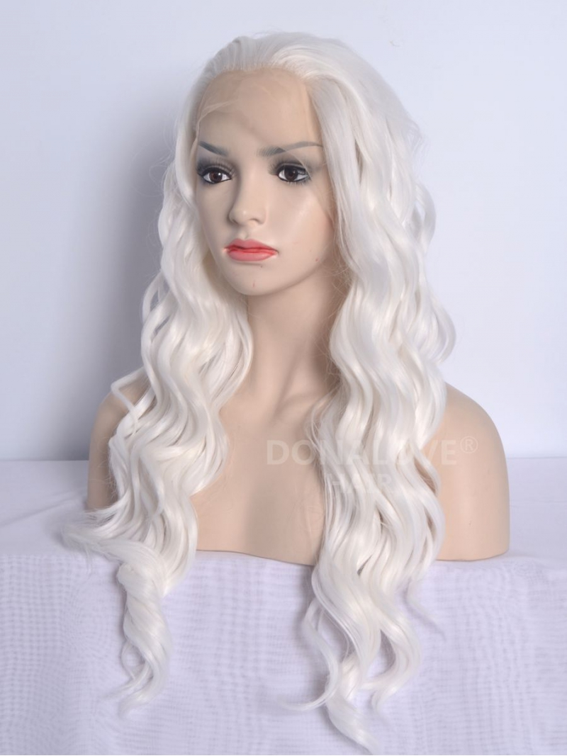 White Waist Length Wavy Synthetic Lace Front Wig Sny040