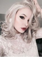 Gray Shoulder Length wavy Synthetic Lace Wig-SNY045
