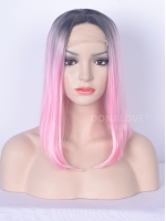Black to Pink Short Shoulder Length Lace Front Synthetic Wig SNY048