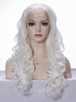 White blonde Waist-length Wavy Synthetic Lace Wig-SNY050