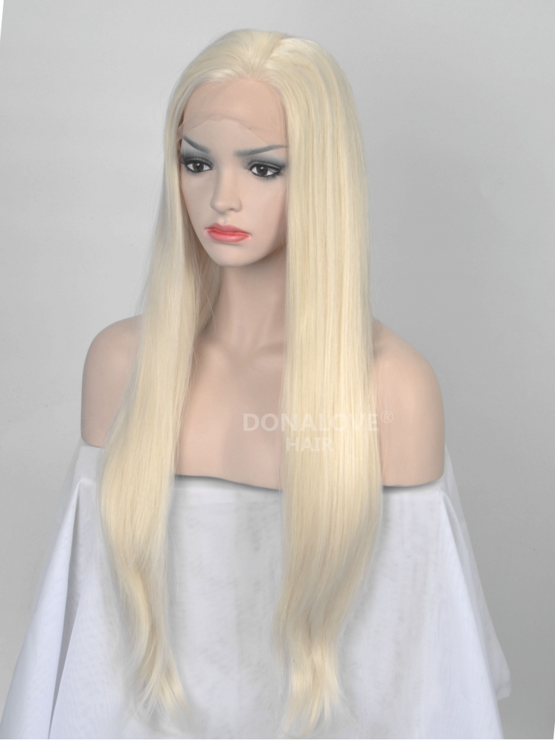 Light Blonde Waist Length Straight Synthetic Lace Front