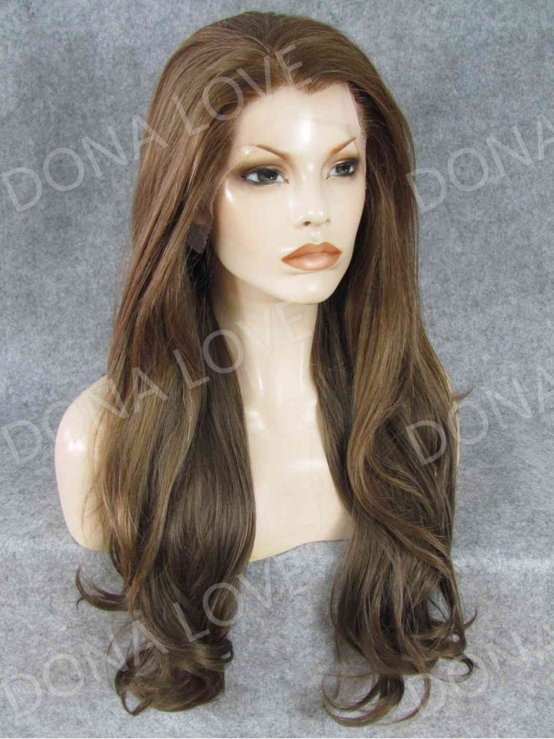 Brown color Waist-length Wavy Synthetic Lace Wig-SNY052 ...
