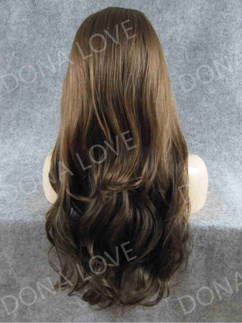 Brown Color Waist Length Wavy Synthetic Lace Wig Sny052