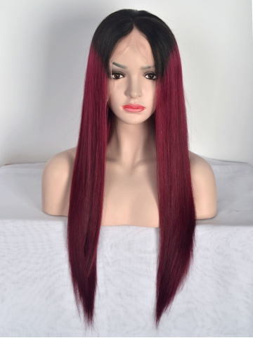 Black ombre Wine Red Human Hair Lace Front Wig HH002