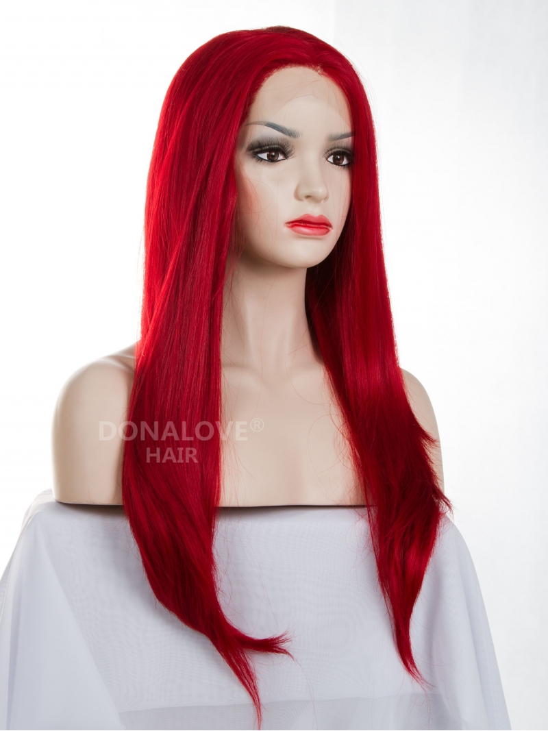 Hot Red Waist Length Straight Synthetic Lace Wig Sny057
