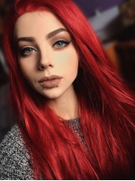 Hot Red Waist-length Straight Synthetic Lace Wig-SNY057