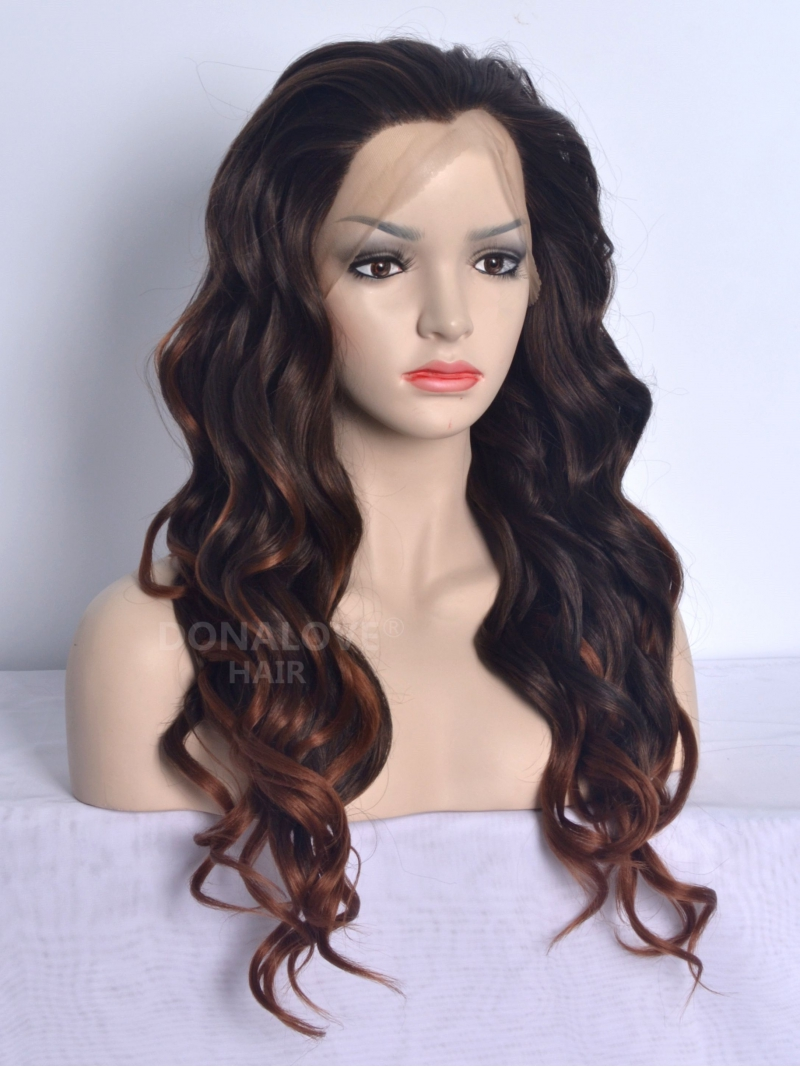 black ombre brown mid back length wavy synthetic lace wig sny058 home donalovehair. Black Bedroom Furniture Sets. Home Design Ideas