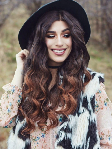 Black ombre Brown mid back length Wavy Synthetic Lace Wig-SNY058