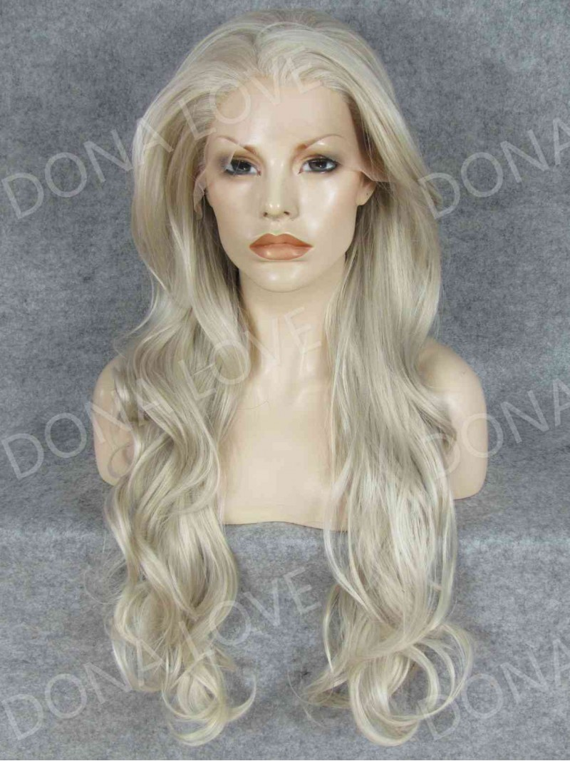 Gray Waist Length Wavy Synthetic Lace Wig Sny067 Home